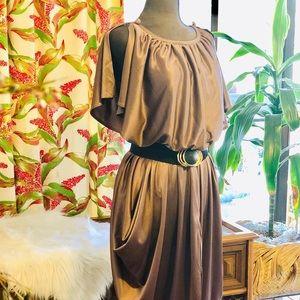 Vintage 80s Polyester Midi dress. Size M